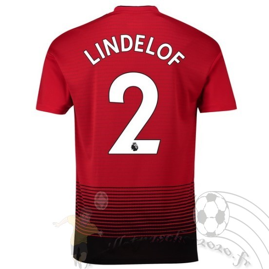 Maillot Foot Personnalisé Vente Adidas No.2 Lindelof Domicile Maillot Manchester United 2018 2019 Rouge
