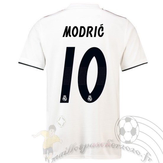Maillot Foot Personnalisé Vente Adidas No.10 Modric Domicile Maillot Real Madrid 2018 2019 Blanc