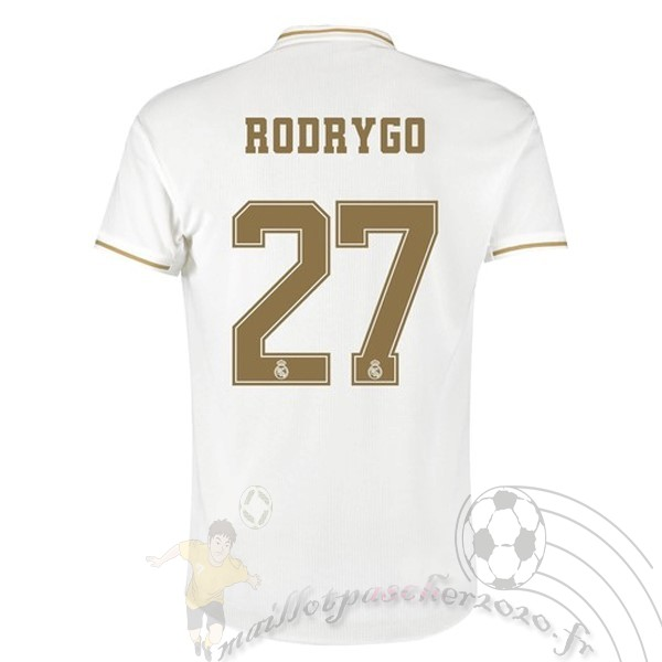 Maillot Foot Personnalisé Vente adidas NO.27 Rodrygo Domicile Maillot Real Madrid 2019 2020 Blanc